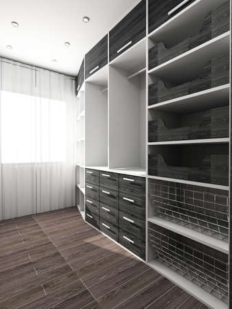Big comfortable closet. Modern design. Home interior. Stock Photo