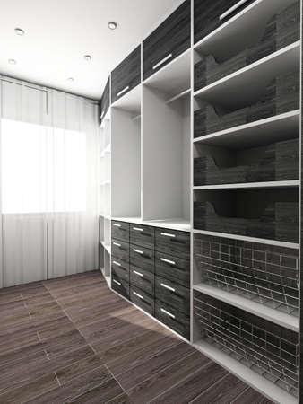 Big comfortable closet. Modern design. Home interior. photo
