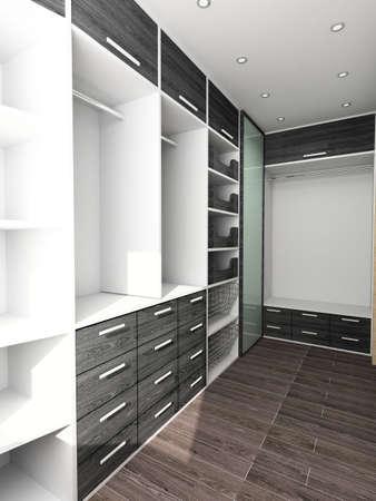 Big comfortable closet. Modern design. Home interior. Zdjęcie Seryjne
