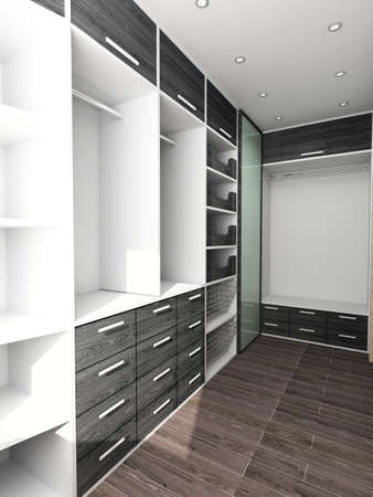shop interior: Big comfortable closet. Modern design. Home interior. Stock Photo