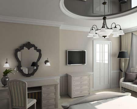 Classic design interior of bedroom. 3D render photo