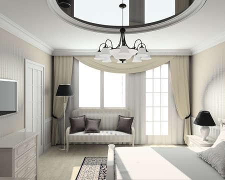 Classic design interior of bedroom. 3D render Stock Photo - 4513716