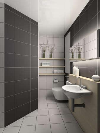 ceramics: Il design moderno di servizi igienici interni. 3D render Archivio Fotografico
