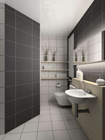 Modern design interior of toilet. 3D render