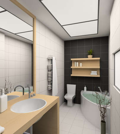 Modern design interior of bathroom. 3D render Stock Photo