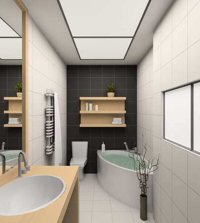 Modern design interior of bathroom. 3D render photo