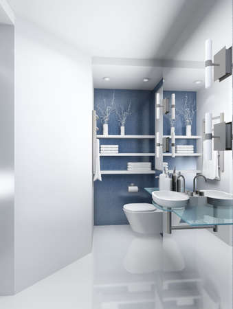 bathroom wall: Modern design interior of toilet. 3D render Stock Photo