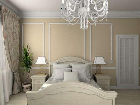 Classic design interior of bedroom. 3D render
