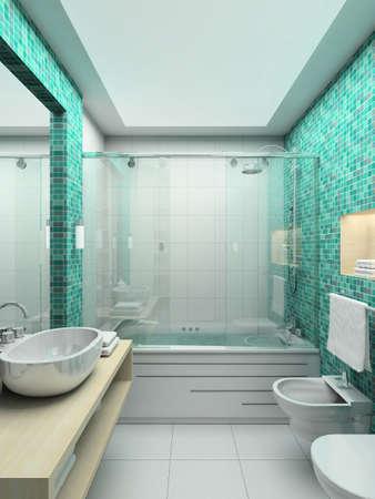 bidet: Modern design interior of bathroom. 3D render Stock Photo