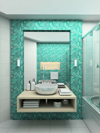 bathroom tiles: Modern design interior of bathroom. 3D render Stock Photo