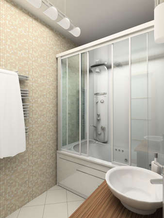 bathtubs: Modern design interior of bathroom. 3D render Stock Photo