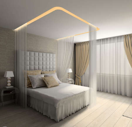 Modern design interior of bedroom. 3D render Stock Photo - 4513711