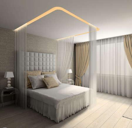 Modern design interior of bedroom. 3D render Stock Photo - 4513711