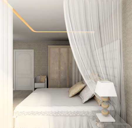 Modern design interior of bedroom. 3D render Stock Photo - 4513707