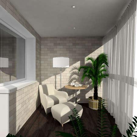 verandah: Modern design interior of verandah. 3D render