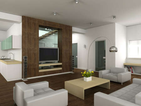 Modern interior. 3D render. Living-room Stock Photo - 4565185