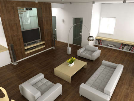 Modern interior. 3D render. Living-room Stock Photo - 4565186