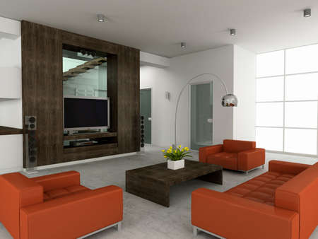 Modern inter. 3D render. Living-room Stock Photo - 4565183