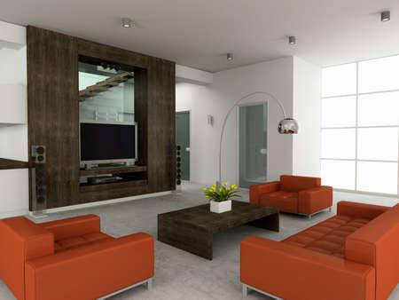 Modern interior. 3D render. Living-room Stock Photo - 4565183
