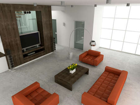 Modern interior. 3D render. Living-room Stock Photo - 4565184