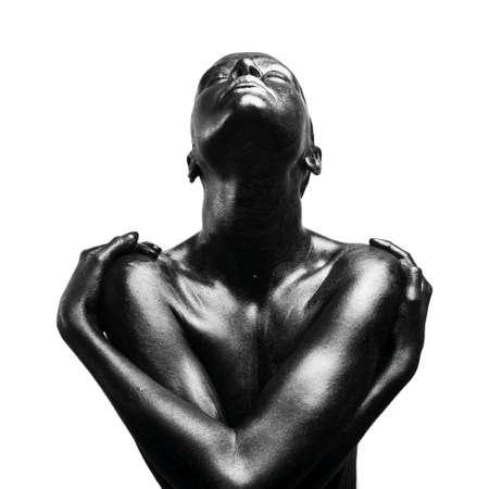 femme noire nue: Mode portrait compos� de femme noire Banque d'images