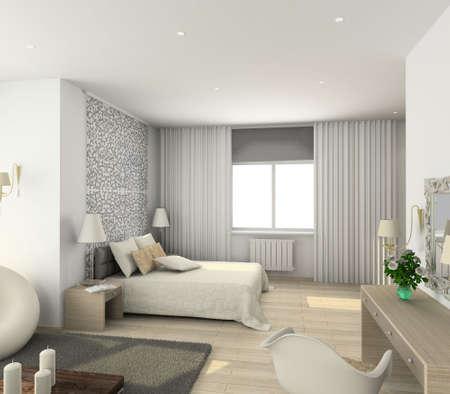 Iinterior of modern bedroom. 3D render Stock Photo - 4928793