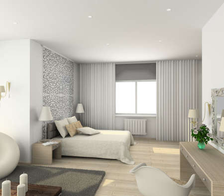 luxury hotel room: Iinterior of modern bedroom. 3D render