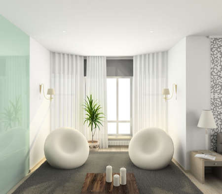 bedding: Iinterior of modern bedroom. 3D render