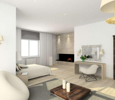 bedroom bed: Iinterior of modern bedroom. 3D render