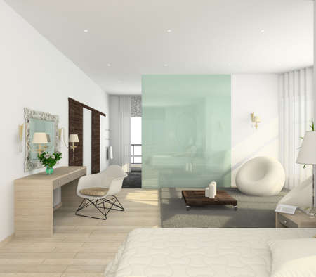 Iinterior of modern bedroom. 3D render Stock Photo - 4928782
