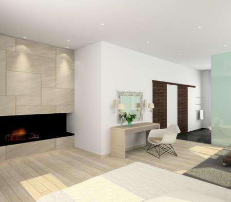 Iinterior of modern bedroom. 3D render Stock Photo - 4928786