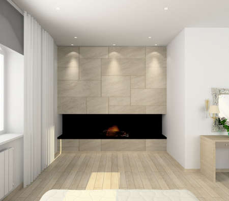 stone fireplace: Iinterior of modern bedroom. 3D render