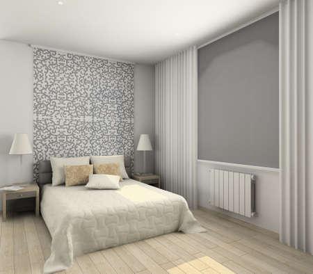 Iinter of modern bedroom. 3D render Stock Photo - 4928787