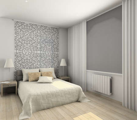 Iinterior of modern bedroom. 3D render photo
