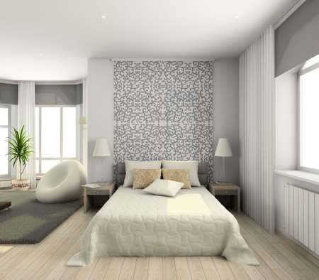 bedding indoors: Iinterior of modern bedroom. 3D render