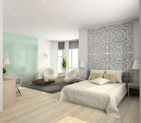 apartment interior: Iinterior of modern bedroom. 3D render