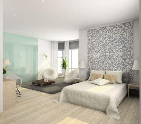 Iinterior of modern bedroom. 3D render Stock Photo - 4928791