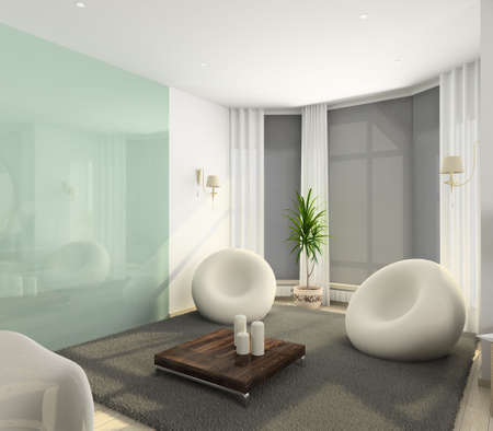 Modern interior. 3D render. Living-room.