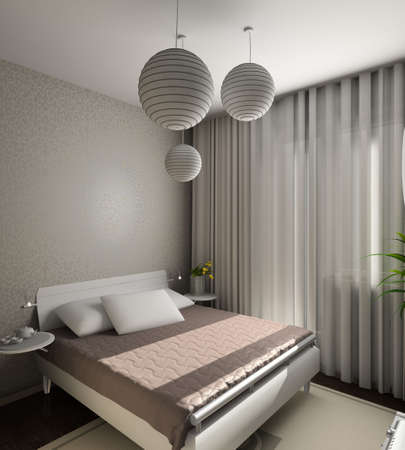 Iinterior of modern bedroom. 3D render Stock Photo - 5015388