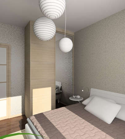 Iinterior of modern bedroom. 3D render Stock Photo - 5015389