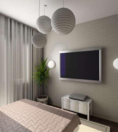 Iinterior of modern bedroom with TV. 3D render photo