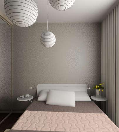 Iinterior of modern bedroom. 3D render Stock Photo - 5015387