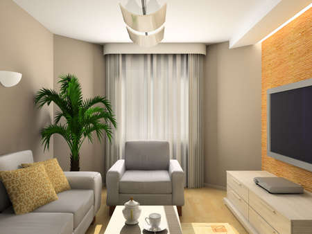 Interior of modern living-room. 3D render Stock Photo - 5031763
