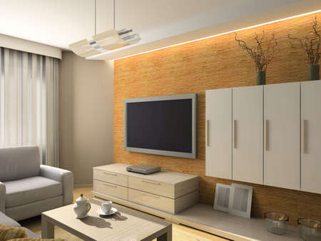 Interior of modern living-room. 3D render Stock Photo - 5031766