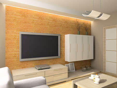 Interior of modern living-room. 3D render photo