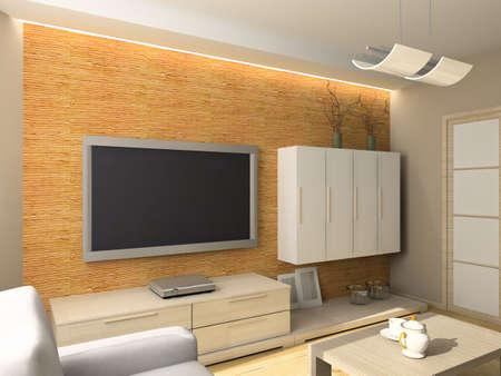 Interior of modern living-room. 3D render Stock Photo - 5031767