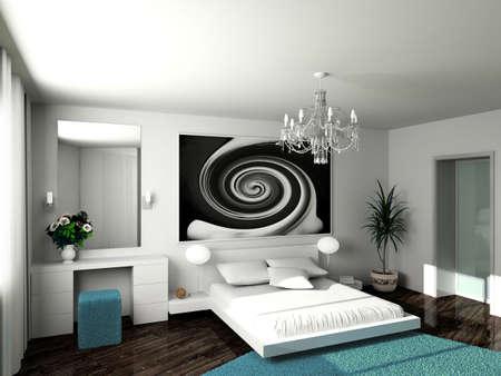 Modern inter. 3D render. Bedroom. Exclusive design. Stock Photo - 5084449