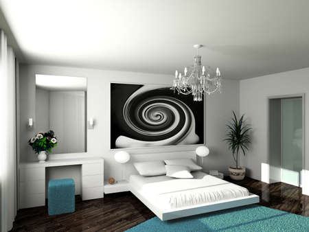luxury hotel room: Modern interior. 3D render. Bedroom. Exclusive design.