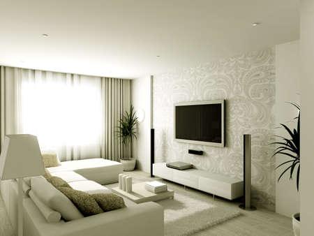 respectable: Modern design interior of living-room. 3D render