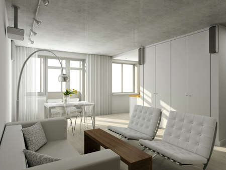 casa de campo: Interioir de la vida moderna-habitaci�n. 3D render Foto de archivo